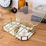 【アジア工房】 ガラスと真鍮でできたフタ付きジュエリーケース(63220) [並行輸入品]