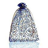 Housweetyオーガンザ袋 巾着 プレゼントラッピング ギフト贈り物袋 バッグジュエリー 包装 収納 保存バッグブルー&ゴールド模様約13.5cm x19.5cm 25枚セット
