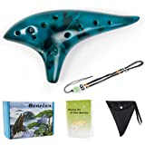 Horse Ocarina 12 Tones Alto C with Song Book Display Stand Neck String Neck Cord (Blue)