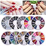 Biutee 10 Wheels nail art decor accessories Nail Rhinestones Premium Manicure Nail Art Decorations Nail Tools