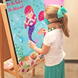 Aparty4u Pin The Tail on The Mermaid Birthday Games for Kids Party, Under The Sea Party Games for Kids Birthday Party Decorat