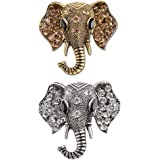 QKAIFRYSUG Retro Crystal Elephant Corsage Brooches for Women Girl Jewelry Dress Accessories 2pcs