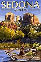 アリゾナ州セドナ、–大聖堂Rock and Cairn 24 x 36 Signed Art Print LANT-68190-710