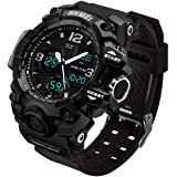 Men's Analog Sports Watch, LED Military Wrist Watch Large Dual Dial Digital Outdoor Watches Electronic Malfunction Two Timezo
