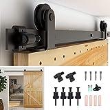 """CCJH 4ft Sliding Barn Wood Door Hardware Kit - Fit 24"""" Width Door Panel - Black for Single Door - T Style Hanger"""