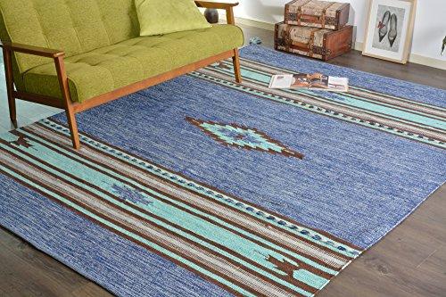 インド キリム ラグ 洗濯可能 アジアン エスニック 幾何学模様 200x200cm ブルー