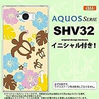 SHV32 スマホケース AQUOS SERIE カバー アクオス セリエ イニシャル 亀とハイビスカス 黄色 nk-shv32-1105ini O