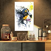 "DesignArt pt13270–3pv犬&イエローボール水彩動物壁アートプリント 16x32"" イエロー PT13270-16-32"