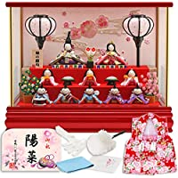 雛人形 リュウコドウ ちりめん ふっくら ひな人形 ケース飾り 十人飾り 丸金柱 キャンディーレッド ラインストーン ガラスケース 2.流水桜 カラー h293-rkcp-ca29-3-1-10