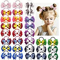 30PCS Baby Girls Hair Bows Ties 3.15Inch Grosgrain Ribbon Bows Elastic Hair Bands Ponytail Holder for Little Girls Toddlers Kids Children