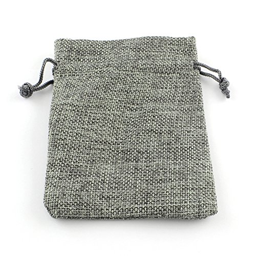 PandaHall 10枚セット 和風 コットン 麻 布 巾着袋 ラッピング袋 ギフトラッピング ジュエリーポーチ バッグ プレゼント用 収納袋 グレー 9x7cm