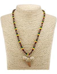 サメの歯ペンダントon Rasta Coco Wood Necklace with Sigid Vine木製チューブビーズ