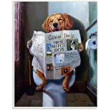The Stupell Home Décor Collection Dog Reading The Newspaper On Toilet Funny Painting Wall Plaque Art, 10 x 0.5 x 15