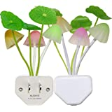 2 Pack Dusk to Dawn Sensor Led Night LightAusaye 0.6W Plug-in LED Night Light Lamp Light Sensor Night Light Mushroom