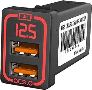 CHELINK 車載QC3.0 カーチャージャー デュアルUSBポート 急速充電USB スマホ充電 表示電圧アンペア TOYOTA 車系用USB充電器トヨタ車系用車載 LEDライト(赤)