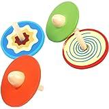 【ノーブランド品】伝統的 玩具 カラフルな木製コマ 五色なげコマ