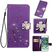 MGVV Huawei Honor 10 Lite Wallet ケース,Flower Bling Leaf Embossing Design 耐衝撃 合皮レザー 超薄型 カード収納 ワイヤレス充電対応 マグネット スタンド 機能 人気 手帳型ケース for Huawei Honor 10 Lite Purple