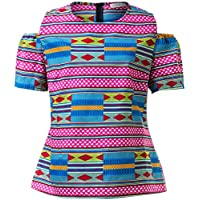 Shenbolen Women African Print Shirt Slim Fit Clubwear Party Shirt Blouse Top