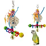 Sanwooden Funny Parrot Toy Colorful Vine Ball Wooden Blocks Bell Parrot Swing Stand Chewing Pet Toy Decor Pet Supplies