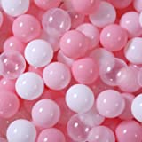 GOGOSO Balls for Ball Pit - Ocean Ball for Toddlers 1-3, Ball Pool with Color Pink Light Pink, White, Transparent and Storage