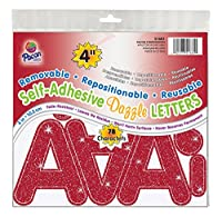 (10cm , 78-Count, Red Dazzle) - Pacon 10cm Self-Adhesive Uppercase Letters, 78-Count, Red Dazzle (51681)