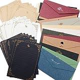 レターセット 封筒 20枚 便箋 24枚 シンプル アンティーク メッセージカード 封筒付 グリーティングカード バース…