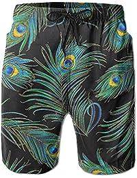 クジャクの羽毛 メンズ サーフパンツ 水陸両用 水着 海パン ビーチパンツ 短パン ショーツ ショートパンツ 大きいサイズ ハワイ風 アロハ 大人気 おしゃれ 通気 速乾