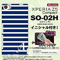 SO02H スマホケース Xperia Z5 Compact カバー エクスペリア Z5 コンパクト ソフトケース イニシャル ボーダー 青×白 nk-so02h-tp709ini K