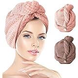 2 Pack Hair Towel Wrap,Hair Drying Towel with Button, Microfibre Hair Towel, Dry Hair Hat, Bath Hair Cap, Lady Bath Head Wrap