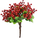 Greentime 10 Pack Artificial Red Berry Stems Faux 9.9 Inches Holly Berry Branches for DIY Crafts Berry Wreath Table Centerpie