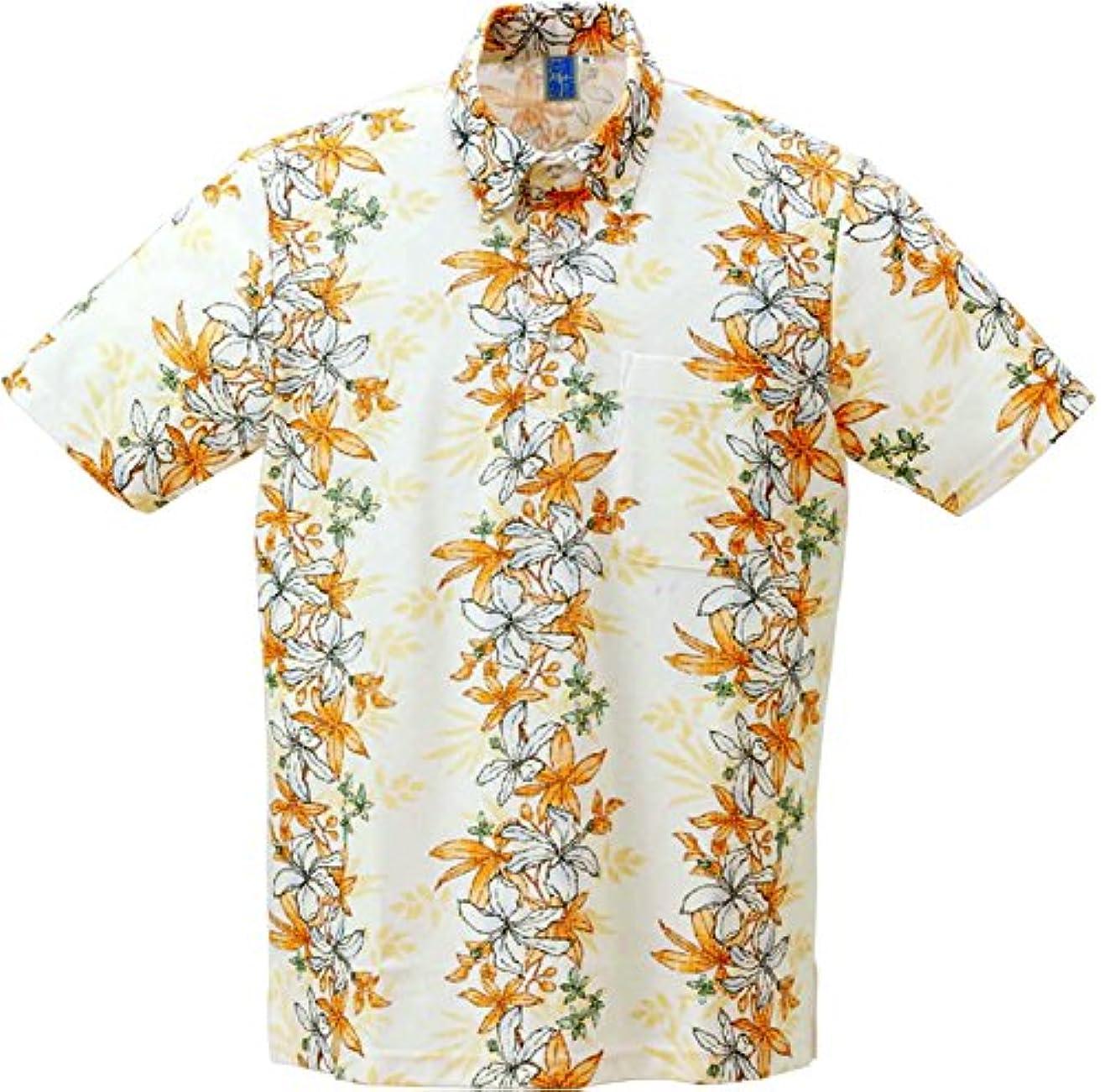 規模繰り返したスクラップ[沖縄物語] かりゆしウェアポロシャツ メンズトックリキワタ柄 ボタンダウン