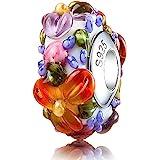 ATHENAIE Murano Glass 925 Silver Core Hawaiian Maui Floral Lei Charm Bead