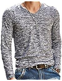 [パンプアップ] メンズ ロング Tシャツ Vネック スリムフィット インナー カジュアル M 〜 XXL