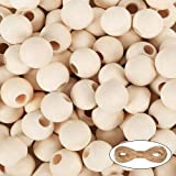 100Pcs 18mm DIY Unfinished Wooden Beads with Jute Twine Bulk for Crafts, Christmas Tree, Garland, Bracelet, Necklace, Jewelry