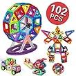 Kingstarマグネットブロック おもちゃ 車セット/かんらんしゃセット子供102ピースケース付き 創造力育てる 磁石 想像力 知育玩具パワークリックス