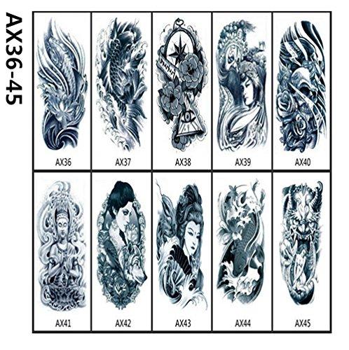 TICENTRAL  大きい タトゥーシール タトゥー 龍 狼 鬼 顔 髑髏 文字 10枚入り セット ステッカー シール 背中 腕 Tattoo マーク アルファベット  おしゃれ メンズ レディース  ワイルド ファッション ジュエリー (AX36-45)