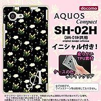 SH02H スマホケース AQUOS Compact カバー アクオス コンパクト ソフトケース イニシャル 花柄・バラ(E) 黒 nk-sh02h-tp250ini K