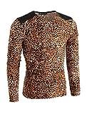 Allegra K (JP) メンズ Tシャツ 長袖 Vネック トップス ヒョウ柄 レオパード ストレッチ カジュアル ベージュ,ブラウン L/42