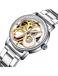 BesTn出品 腕時計 レディース 機械式 自動巻き クローバー 可愛らしい 透かし彫り スケルトン パンク ユニーク アンティーク (ステンレスバンド)