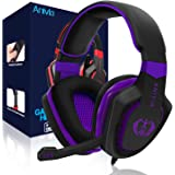 Anivia AH28 Gaming Headset Noise Isolating Over Ear Headphones with Mic, Volume Control, Bass Surround, Soft Memory Earmuffs