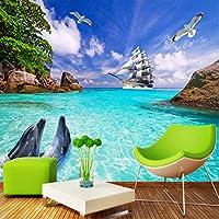 Mingld パーソナライズされたカスタマイズ海辺の風景イルカ写真の壁紙3Dの壁壁画リビングルームのベッドルームテレビの背景壁紙-400X280Cm