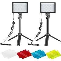 Neewer 2パック LEDビデオライト USBビデオライト 調光可能 5600K 調整可能な三脚スタンドとカラーフィ…