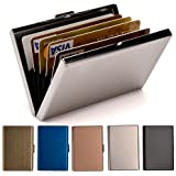 RFID Credit Card Holder for Women and Men, Stainless Steel Credit Card Wallet for Holding Debit Card and ID Card