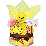 おむつケーキ [ 男の子 : 女の子/くまのプーさん : ディズニー / 1段 ] パンパース S12枚 (出産祝い に Sサイズ)1501 ダイパーケーキ 赤ちゃん ベビーシャワー ギフト 誕生日プレゼント
