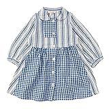 (セラフ)Seraph 4色3柄ストライプ&チェックワンピース女の子/長袖/チェック柄/ストライプ/前開き 80 ブルー