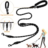 SlowTon Double Dog Lead Splitter, Dual Pet Leash Coupler Connect to Collar Harness Slideable Rope Dog Lead with Soft Padded H