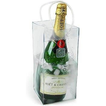 ROSENICE ハンドル付きのバッグ ワイン バッグ クーラーの氷バッグの耐久性のある透明な PVC シャンパン ポーチを冷やす
