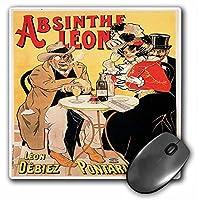 3drose 8x 8x 0.25インチマウスパッド、ヴィンテージAbsinthe Leonフランスワイン広告ポスター( MP _ 149285_ 1)