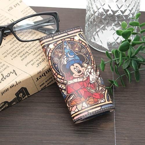 ミッキー 魔法の帽子[鍵ケース 本革]レザーキーケース/ステンドグラスファンタジア ディズニー