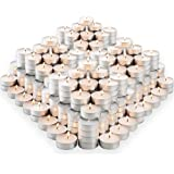 MontoPack Unscented Tea Lights Candles in Bulk | 300 White, Smokeless, Dripless & Long Lasting Paraffin Tea Candles | Small V